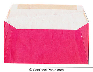 isolated on white old red envelope