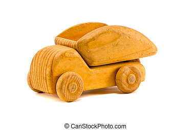 isolated on white retro wooden toy truck