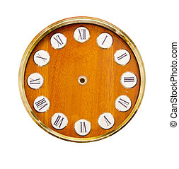 isolated on white wooden vintage clock-face