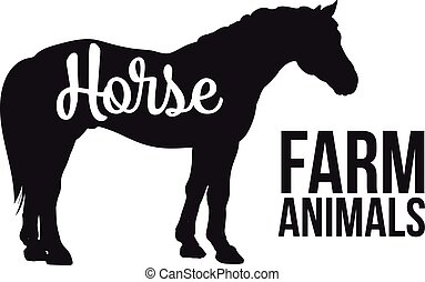 Isolated one Black horse with lettering