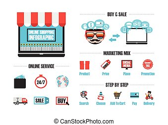 isolated online shop - online shop infographic, isolated in...
