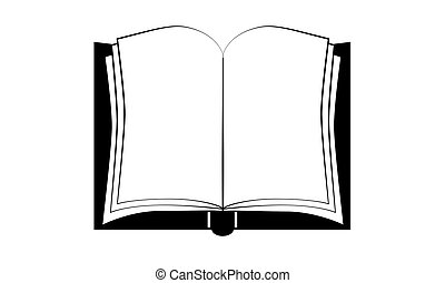 Isolated open book illustration drawing. Diary.