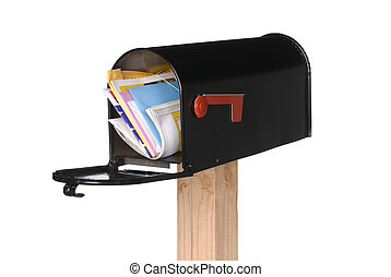 Isolated open mail box with mail - A black isolated mailbox ...