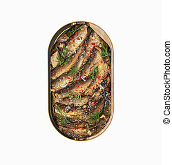 Isolated open tin of Baltic sprats in oil with spices on a white background