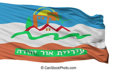 Isolated Or Yehuda city flag, Israel - Or Yehuda flag, city...