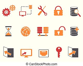 orange and red color database technology icons set