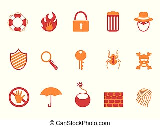 orange and red color security icons set
