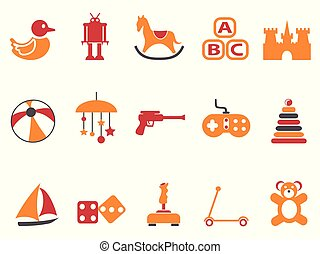 orange and red color toy icons set