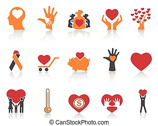 orange color charity icons set