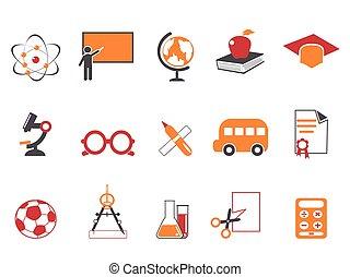 orange education icons set
