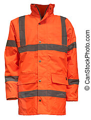 An Orange High Visibility (Hi Vis) Safety Jacket, Isolated On A White Background