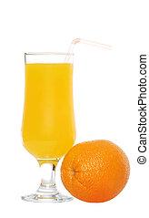 Orange juice with a straw
