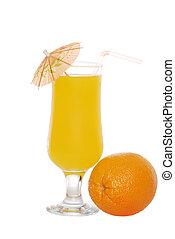 Orange juice with an umbrella