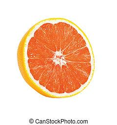 Isolated orange. One half ripe orange isolated on a white background.