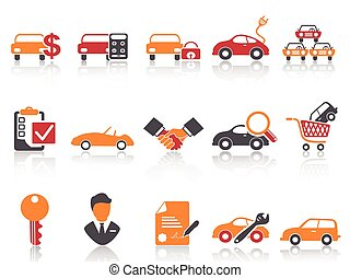 orange red color series car dealer icons set