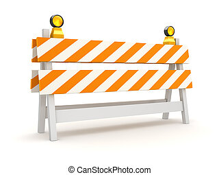 Isolated Orange Roadblock , This is a 3d rendered computer...