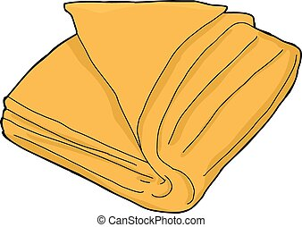 Single orange folded towel cartoon over white