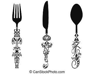 isolated ornament cutlery set on white background