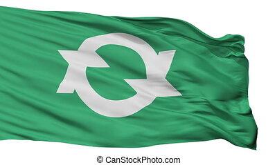 Isolated Otake city flag, prefecture Hiroshima, Japan -...
