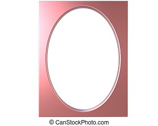 oval photoframe 3d render in pink - isolated oval photoframe...
