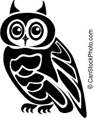 Beautiful isolated owl on background as a symbol