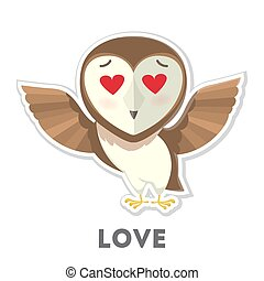 Isolated owl in love.