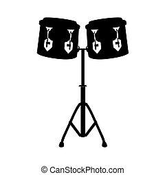 Isolated pair of drums silhouette