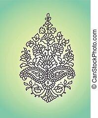 isolated., paisley., ornament., illustratie, vector, ethnische