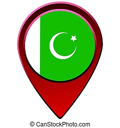 Isolated Pakistani flag on a map pin, Vector illustration