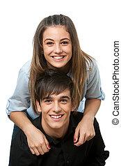 isolated., pareja, joven, encima de cierre, feliz