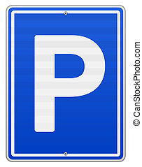 Blue roadsign with letter P on rectangular plate isolated on white