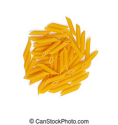Isolated pasta on white background. Top view