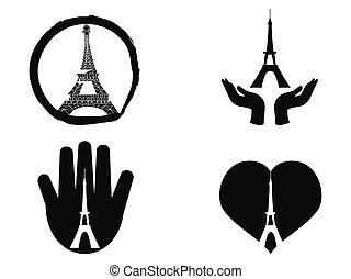 peace for paris icons set