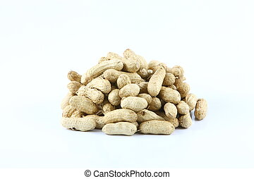 Isolated peanuts over white background