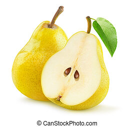 One and a half yellow pear isolated on white background