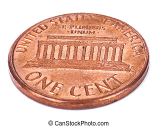 Isolated Penny - Tails High Angle - Two sides of a USA 1...