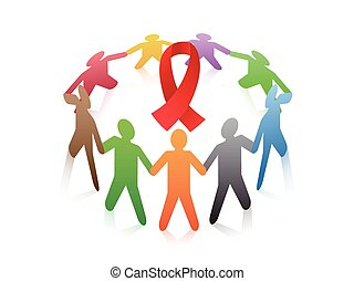 people around the red ribbon AIDS symbol
