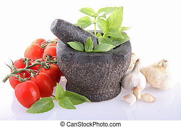 pestle mortar with tomato