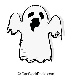Isolated phantom decorative halloween october icon- Vector