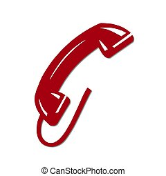 isolated phone receiver red