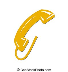 isolated phone receiver yellow