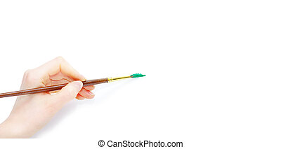 Isolated photo of a brush in a hand