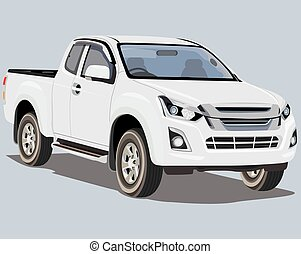 isolated Pickup truck on white background vector design