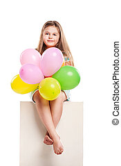Isolated picture from little girl with balloons