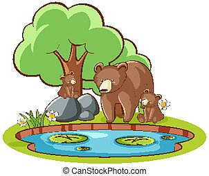Isolated picture of grizzly bears by the pond