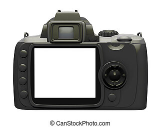 Isolated picture of the back of a Digital Camera Back with a cut out.