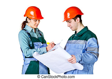 Isolated picture of young construction workers with blueprint