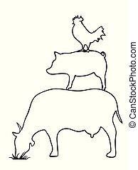 pig cow chicken logo, outline vector