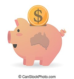 Isolated piggy bank icon with a map of Australia