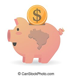 Isolated piggy bank icon with a map of Brazil